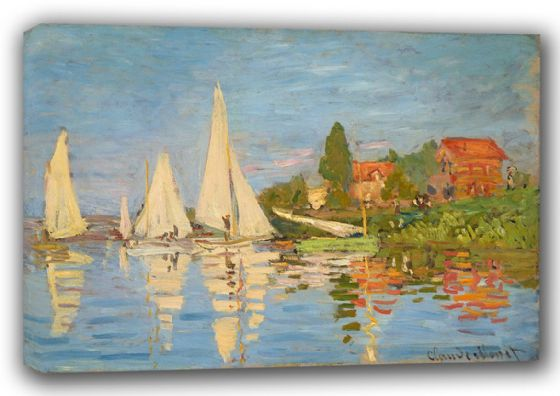 Monet, Claude: Regatta in Argenteuil. Fine Art Landscape Canvas. Sizes: A3/A2/A1 (00778)